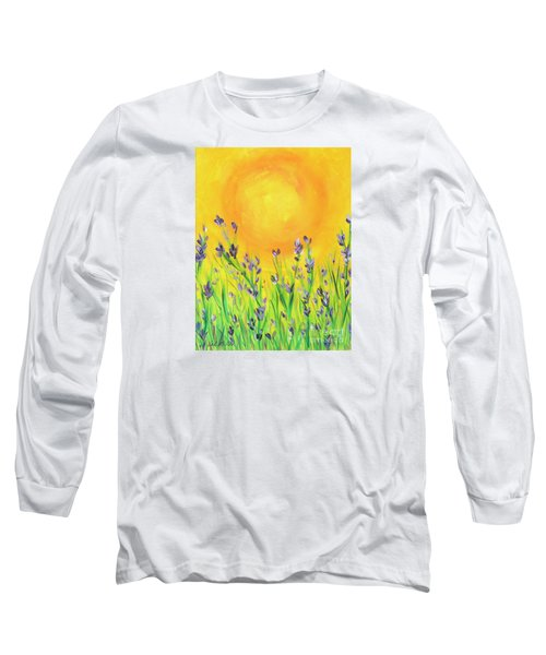 Long Sleeve T-Shirt featuring the painting Field Sunset by Val Miller