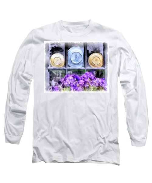 Fiestaware Window Display With Pansies Long Sleeve T-Shirt by Betty Denise