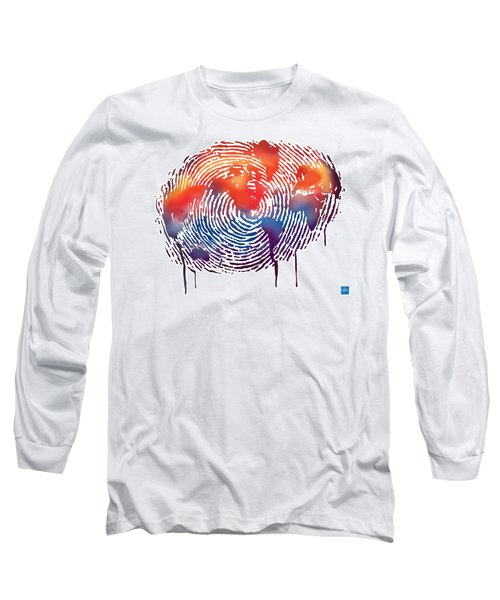 Finger Print Map Of The World Long Sleeve T-Shirt