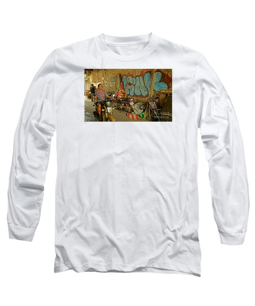 Long Sleeve T-Shirt featuring the photograph Fink Color Graffiti by Arik S Mintorogo