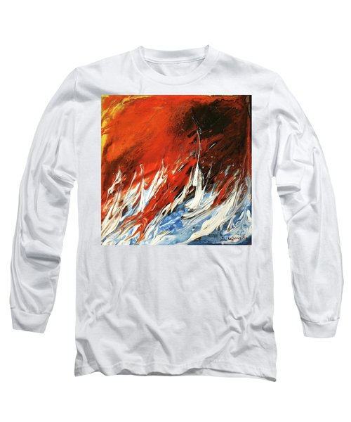 Long Sleeve T-Shirt featuring the mixed media Fire And Lava by Kathleen Pio