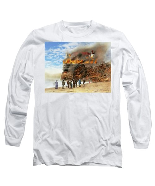 Long Sleeve T-Shirt featuring the photograph Fire - Cliffside Fire 1907 by Mike Savad