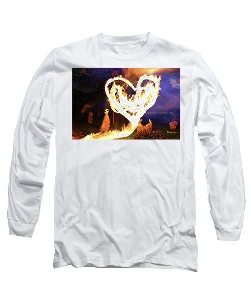 Fire Heart Long Sleeve T-Shirt by Andrew Nourse