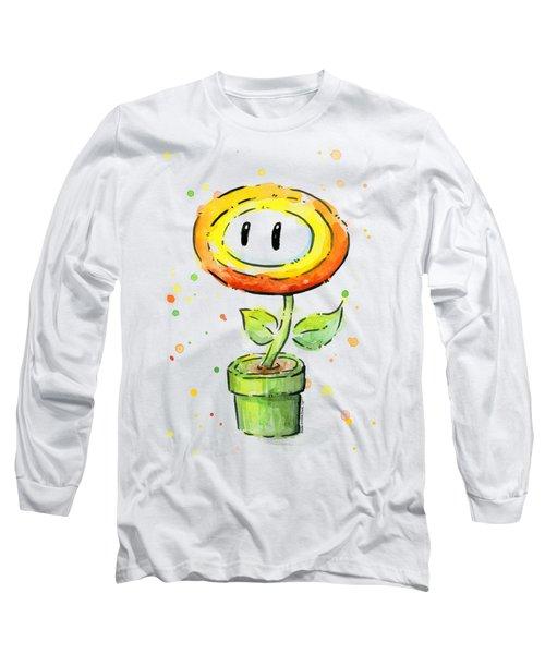 Fireflower Watercolor Long Sleeve T-Shirt by Olga Shvartsur