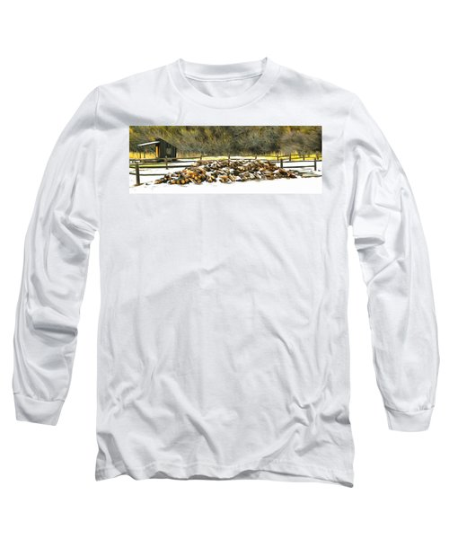 Long Sleeve T-Shirt featuring the photograph  Floyd Snyder by Firewood in the Snow at Fort Tejon