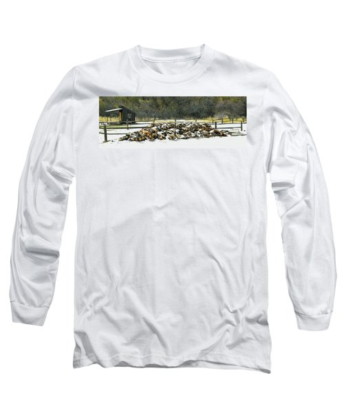 Long Sleeve T-Shirt featuring the photograph Firewood In The Snow At Fort Tejon by Floyd Snyder