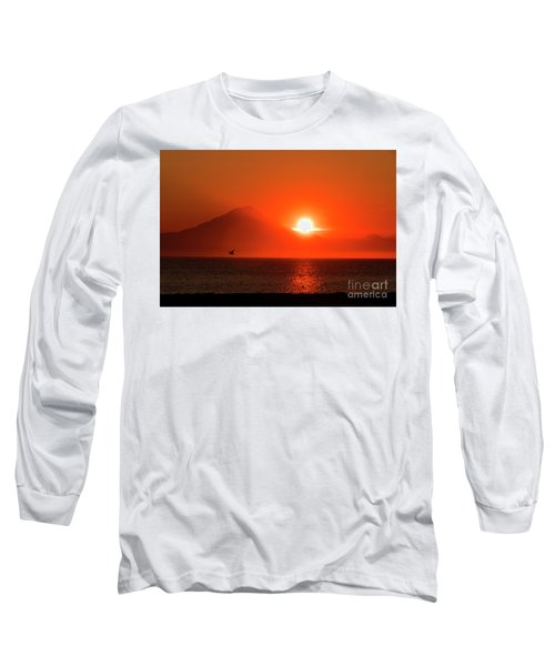 Firey Sunset On Mt Redoubt Volcano Alaska Long Sleeve T-Shirt