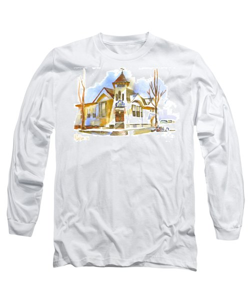 Long Sleeve T-Shirt featuring the painting First Baptist Church In Winter by Kip DeVore