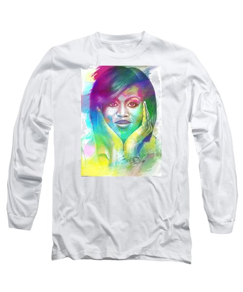 Long Sleeve T-Shirt featuring the mixed media First Lady Obama by AC Williams