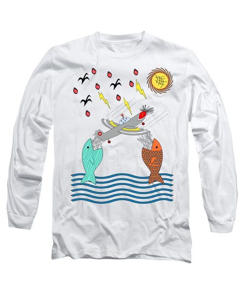 Fish Food Long Sleeve T-Shirt by Methune Hively