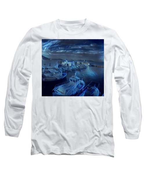Long Sleeve T-Shirt featuring the photograph Fish Harbour Paros Island Greece by Colette V Hera Guggenheim