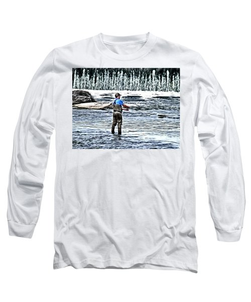Fisherman On The River Long Sleeve T-Shirt