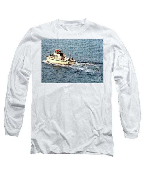 Long Sleeve T-Shirt featuring the photograph Fishing And Seagulls by Randall Weidner