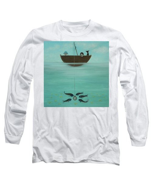 Long Sleeve T-Shirt featuring the painting Fishing For Time by Tone Aanderaa