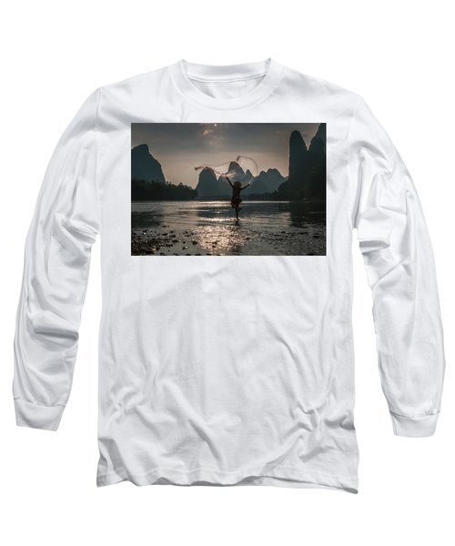 Fisherman Casting A Net. Long Sleeve T-Shirt