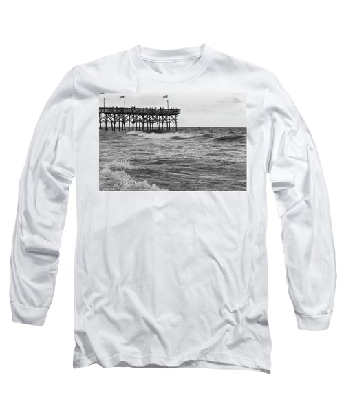 Long Sleeve T-Shirt featuring the photograph Fishing Off The Pier At Myrtle Beach by Chris Flees