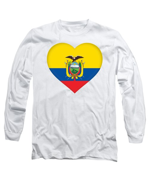Flag Of Ecuador Heart Long Sleeve T-Shirt