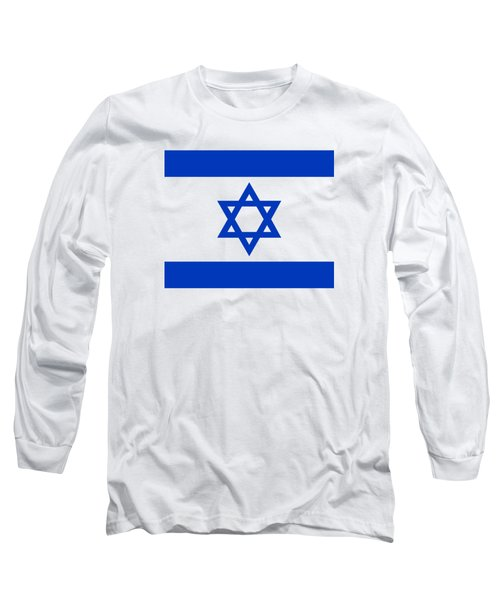 Long Sleeve T-Shirt featuring the digital art Flag Of Israel Authentic Version by Bruce Stanfield