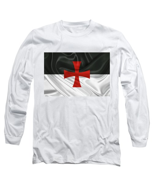 Flag Of The Knights Templar Long Sleeve T-Shirt by Serge Averbukh