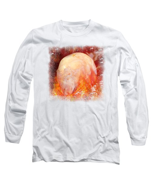 Flaming Crystal Skull On Transparent Background Long Sleeve T-Shirt