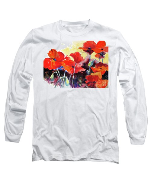 Long Sleeve T-Shirt featuring the painting Flaming Poppies by Kathy Braud