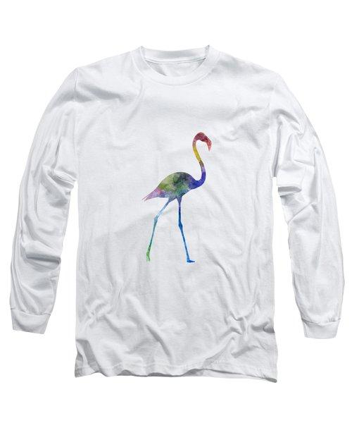 Flamingo 01 In Watercolor Long Sleeve T-Shirt by Pablo Romero
