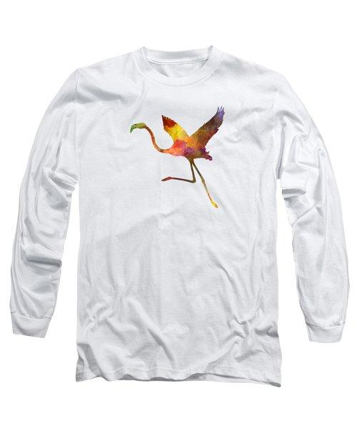 Flamingo 02 In Watercolor Long Sleeve T-Shirt by Pablo Romero