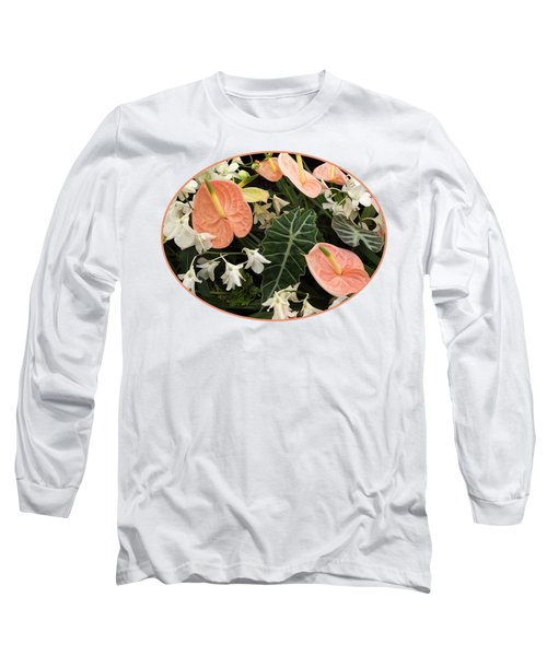 Flamingo Flowers And Orchids Long Sleeve T-Shirt by Gill Billington