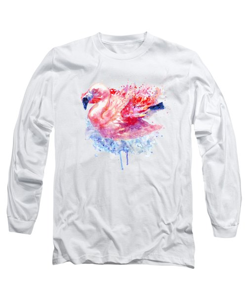Flamingo On The Water Long Sleeve T-Shirt by Marian Voicu