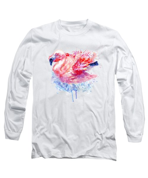Flamingo On The Water Long Sleeve T-Shirt
