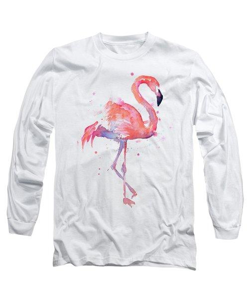 Flamingo Watercolor Facing Right Long Sleeve T-Shirt by Olga Shvartsur