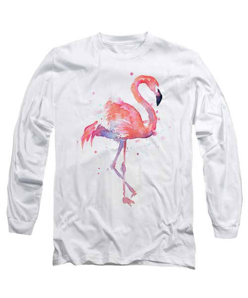 Flamingo Watercolor Facing Right Long Sleeve T-Shirt
