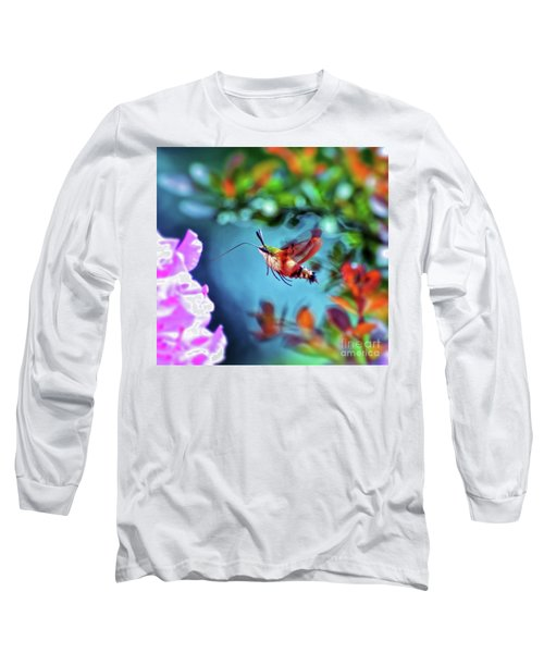 Long Sleeve T-Shirt featuring the photograph Flight Of Mystery - Hummingbird Moth by Kerri Farley