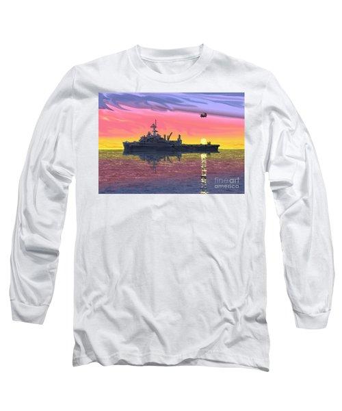 Flight Ops At Sunset Long Sleeve T-Shirt by Donald Maier