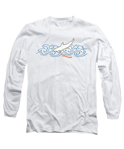 Florida Dolphin Print Long Sleeve T-Shirt by Methune Hively