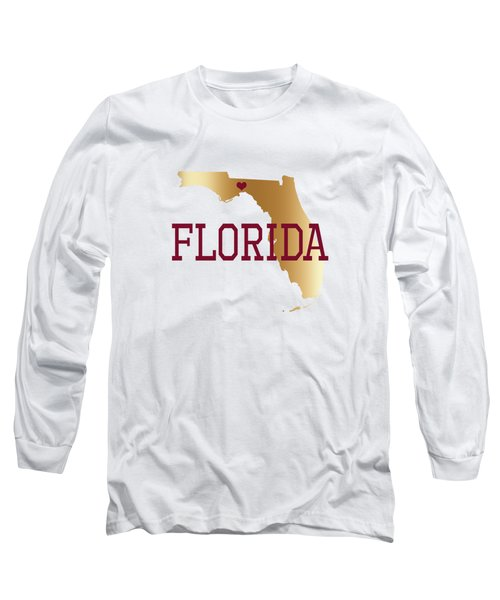 Florida Gold And Garnet With State Capital Typography Long Sleeve T-Shirt
