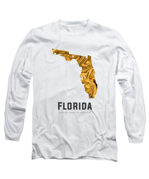 Florida Map Art Abstract In Yellow Gold Long Sleeve T-Shirt