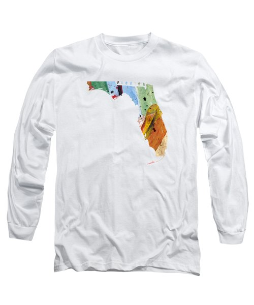 Florida Map Art - Painted Map Of Florida Long Sleeve T-Shirt by World Art Prints And Designs