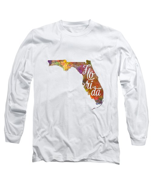 Florida Us State In Watercolor Text Cut Out Long Sleeve T-Shirt by Pablo Romero