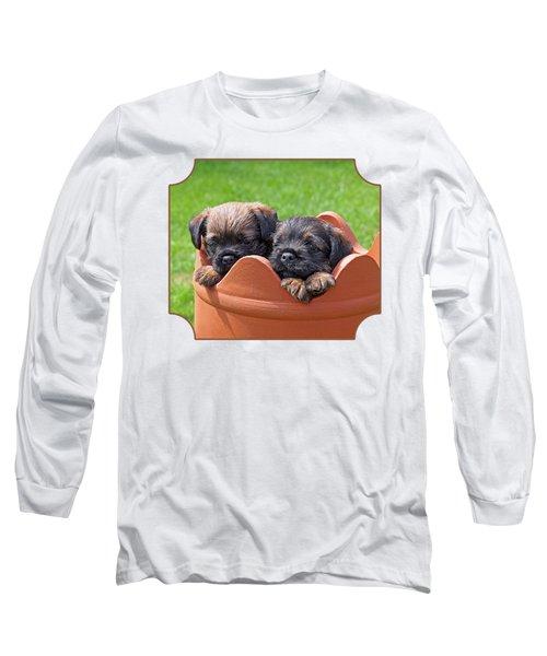Flower Pot Puppies-border Terriers Long Sleeve T-Shirt