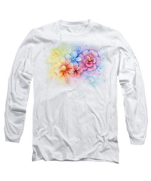 Flower Power Watercolor Long Sleeve T-Shirt by Olga Shvartsur