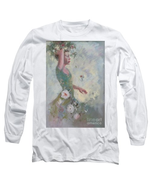 Long Sleeve T-Shirt featuring the painting Flower Vender by Gertrude Palmer