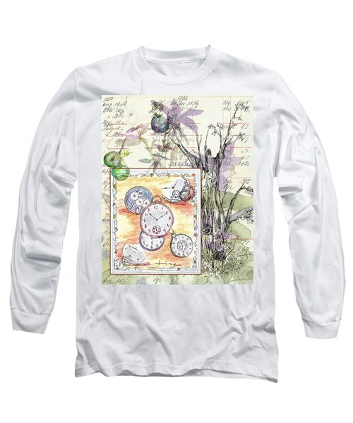 Long Sleeve T-Shirt featuring the drawing Flowers And Time by Cathie Richardson