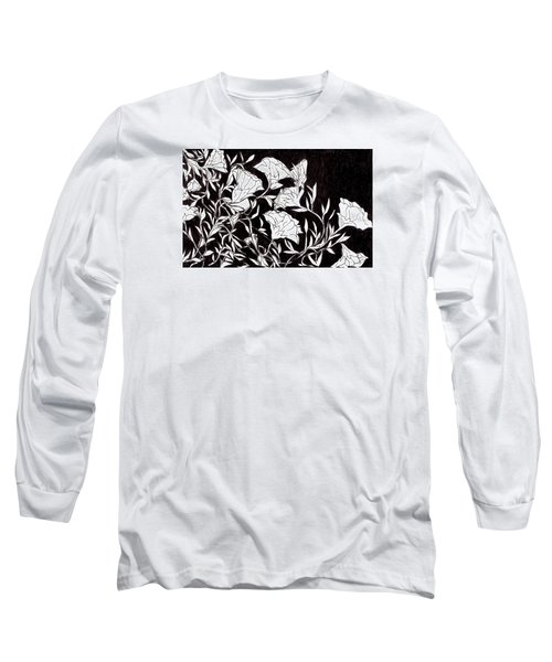 Long Sleeve T-Shirt featuring the drawing Flowers by Lou Belcher
