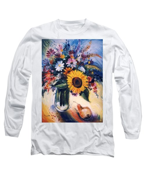 Long Sleeve T-Shirt featuring the painting Flowers by Mikhail Zarovny
