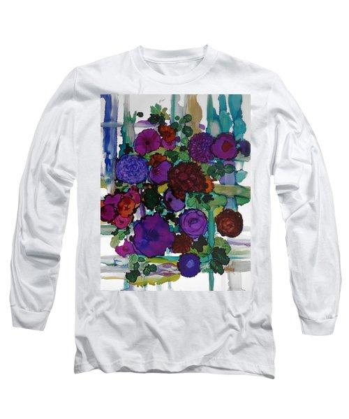 Flowers On Trellis Long Sleeve T-Shirt by Alika Kumar