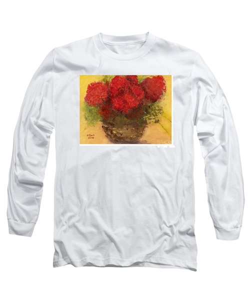 Long Sleeve T-Shirt featuring the mixed media Flowers Red by Marlene Book
