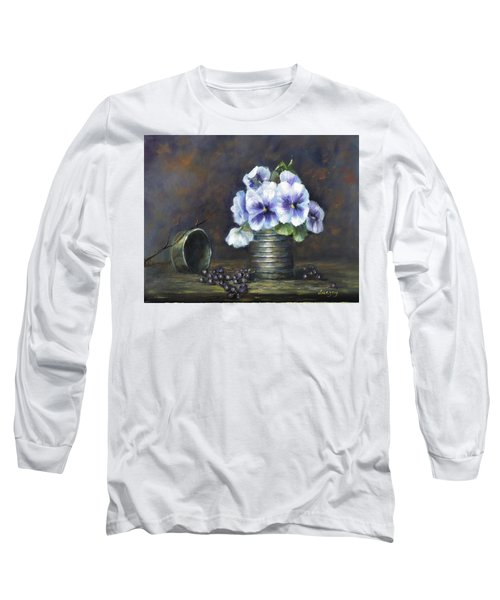 Long Sleeve T-Shirt featuring the painting Flowers,pansies Still Life by Luczay