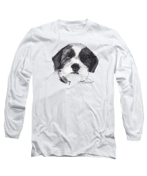 Fluffy Black And White Dog Watercolor Painting Long Sleeve T-Shirt by Kathleen McElwaine