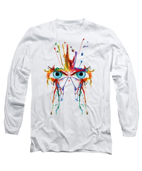 Fluid Abstract Eyes Long Sleeve T-Shirt by Robert G Kernodle